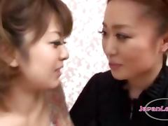 2 Asian Girls On Their Knees Kissing Rubbing Tits Sucking Nipples On The Bed In The Roo
