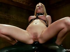 Amazing Allie James gets fucked in her mouth in BDSM vid