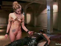 Chained Bailey Blue gets toyed clothespinned and fucked