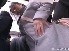 Japanese cutie gets used in the public bus tube porn video