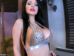 Aletta Ocean sucks a big dildo before poking it in her pussy