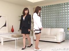 Two stunning Japanese girls have passionate lesbian sex tube porn video