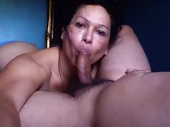 Shemale Blowjob cum Face tube porn video