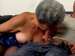 Grey haired granny suck fucks and facialized tube porn video