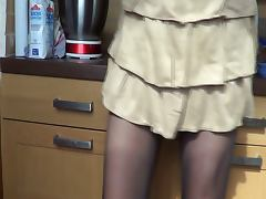 Skirt in kitchen tube porn video