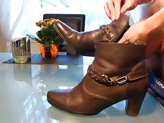 Cum in wifes brown ankle boot