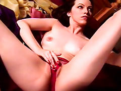 Chick Emily demonstrates her hairy pussy