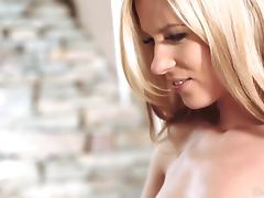 Delicious blond babe Leony April gives a hot BJ
