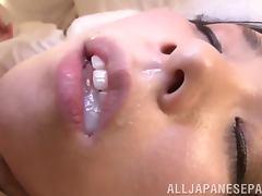 Naughty Marika Tsutsui rides a dick and gets a mouthful