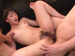 Nana Usami sucks two dicks before taking them in her hairy snatch