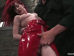 Redhead Arachnia Webb gets hosed and tortured