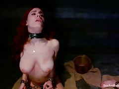 Three sexy girls get whipped and then fucked by their master
