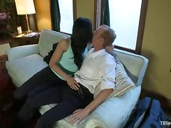 Guy gets fucked by a girl and a transsexual hottie