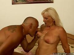 Mature blonde Mamie rides her elderly husband's hard prick