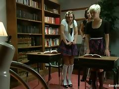 Two chicks in school uniform get pounded in their asses