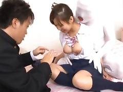 Konatsu Aozora shows her vag to some guy and gives him a handjob tube porn video