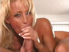 Blonde MILF Chokes On Thick Cock
