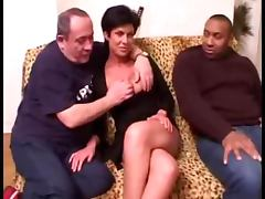 Mature brunette fucking with several cocks