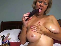 Solo Hot Blonde Granny Toying Around!