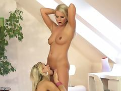 Two gorgeous blondes moan sweetly while playing with each other's vags tube porn video