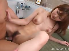 Hikari Kasumi blows and gets fucked in cowgirl position indoors