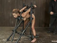 Angel Cummings gets fucked from behind while being in a pillory porn tube video