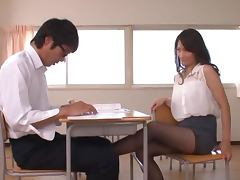 Miku Aoki the sexy teacher has sex with her student
