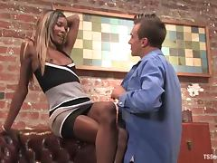 Ebony shemale gives her black dong to her white fella
