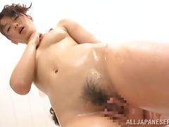 Nana Usami licks a prick before taking it in her hairy Asian pussy