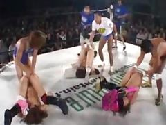 Salacious Asian girls get fucked by boxers on a ring