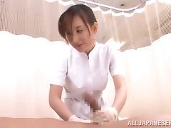 A cock loving nurse loves her job of minding manhood