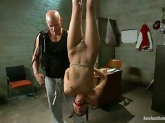 Spanking, BDSM, Bondage, Brunette, Pigtail, Spanking