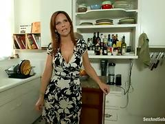 Redhead Syren De Mer gets tied up and fucked in a kitchen tube porn video