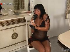 Huge Black Dildo Goes Inside Angelica Heart's Pussy in the Kitchen tube porn video