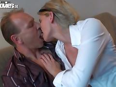 Sexy blonde girl sucks and rides a cock at the casting