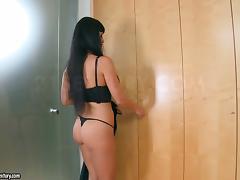 Busty brunette Aletta Ocean toys her pussy near a wardrobe