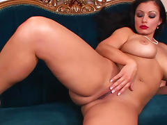 Pretty milf with red lips Aria Giovanni is masturbating