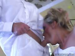 Lewd doctor fucks two handicapped girls in the living room
