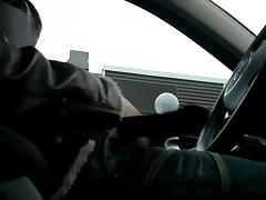 Jerking in the car at the parking place porn tube video