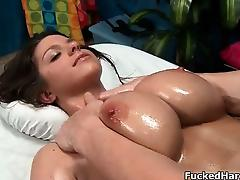 Busty burnette babe gets horny part2