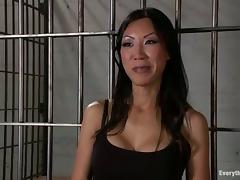 Naughty Tia Ling gets toyed and fucked hard in a prison ward