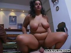 Chubby and busty amateur Milf action with facial tube porn video