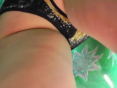Big ass babe shows off her panties on the hidden cam
