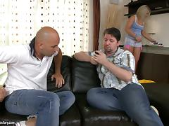 A bald dude gets to ride his buddy's wife as he watches