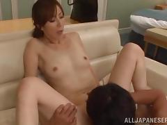 Japanese milf enjoys hot sex after giving a blowjob