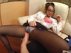 Nerdy milf teacher Mana Sugiura does some oral practice