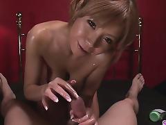 Oiled Up Teen Sumire Matsu Sucks Dick In POV tube porn video