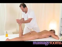 Pretty blonde girl gets a massage and then gets pounded