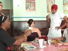Amateur girl getting paid for hot sex in a restaurant