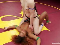 Interracial lesbian fight with Cheyenne and Yasmine tube porn video